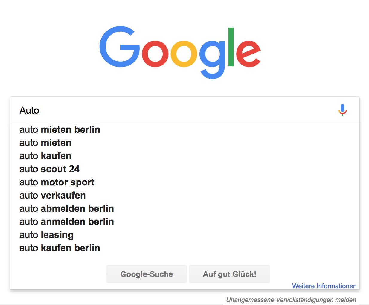 Beispiel für die Google Suggest Funktion