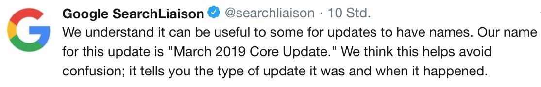 March 2019 Core Update