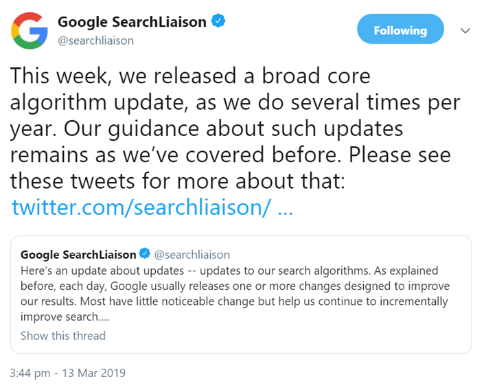 Core Algorithmus Update - Florida 2 am 12. März